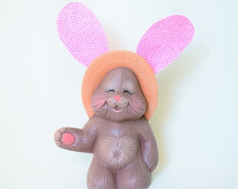 Ceramic Bunny - Easter Bunny - Bunny Decor - Girl Bunny - Ceramic Bunny Rabbit - Easter Gift - Spring Decor - Easter Decor - Pink Bunny