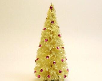 Vintage Style Bottlebrush Ivory Christmas Tree- Swarovski Fuchsia Deep Pink Crystals- Mica Flakes Snow