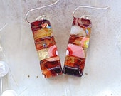 Red Earrings, Orange, Pink, Amber, Dichroic Earrings, Glass, Fused Jewelry, Dangle, Sterling Silver, Murrini, One of a Kind, A1