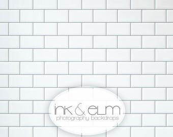 "Photography Backdrop 2ft x 2ft, Subway Tile Backdrop, White tile backsplash backdrop, Food photography background backdrop, ""Subway Tile"""