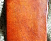 Large Fitted Brown Leather Book Journal Weathered Rustic Look Ready to Ship