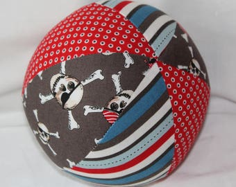 Gray and Red Pirate Mateys Fabric Ball Rattle Toy