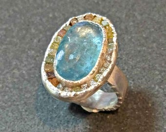 RESERVED FOR Sue,Aquamarine and Raw Diamond ring,   multi stone Ring, Silver, aquamarine and  diamond ring, OOAK,