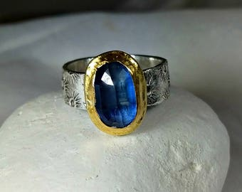 Kyanite Statement Ring, Solitaire Ring,  22 kt yellow  gold , silver  and Stone ring, rustic etched gemstone ring