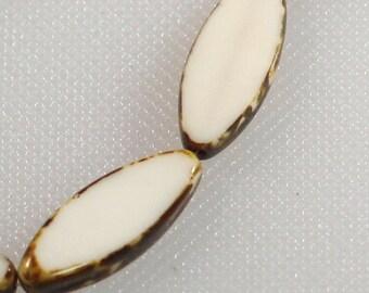 8 x 20 mm ivory flat Czech glass oval with tortoise trim