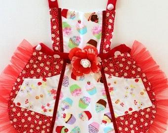 Cupcake Toss Apron, toddler apron,  girls apron, accesories, apron, dress up, costume