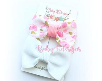 "Baby Snap Hair Clip.  Newborn Hair Clip. Handmade 2"" Bow. Girl Hair Clip. Floral Baby Bow Clip. Girls Simple U Pick Baby Shower Gift"