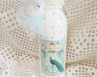 Vintage Peacock Charm Graphic and Bottle Art, Hand Painted and Crafted, Decorative Accent, Home Decor Compliment, ECS