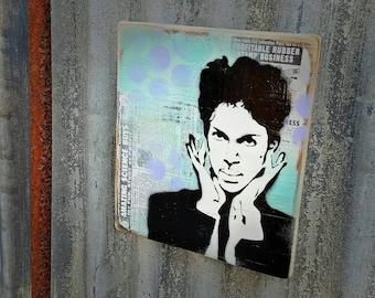 Prince Original Graffiti Art Painting on Wood Panel RePurposed Ply Wood Music Art Purple Rain Iconic Legend