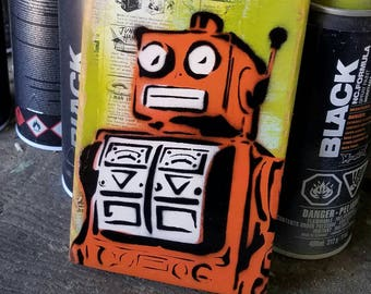 Robot Graffiti Art Painting on Canvas Pop Art Style Original Artwork Stencil Urban Street Art Vintage Toy