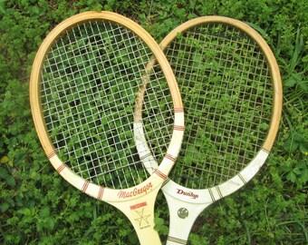 Two Vintage Tennis Rackets - MacGregor/ Dunlop - Sports Decor - Game Room Decor