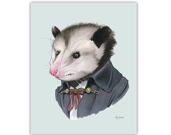 Opossum art print 5x7