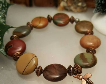 Earth tones Picasso Jasper and copper stretch bracelet with tiny honey bee charm.