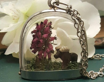 Lone bull moose, mossy grass and a flowering tree terrarium necklace, Moose diorama Necklace, Woodland scene necklace.