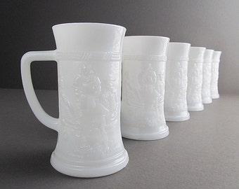 Vintage Milk Glass Steins, Milk Glass Mugs, Beer Steins, Beer Mugs, Bar Mugs, Vintage Barware, Set of 6