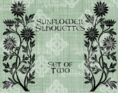 Digital Download, Sunflower Silhouettes, Fall Decor, Autumn