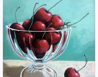 Bowl of Cherries - realistic still life food art original painting