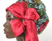 Sweet Sleep Slumber Bonnet-Cap-Floral Tropical Print with Red