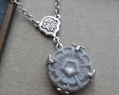 Vintage Glass Button, Necklace, Gray Pentagon,Matte Finish, Designs by Timeless Trinkets