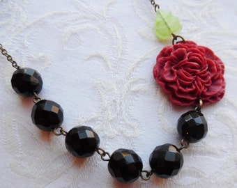 75% Off Sale, Romantic Red Peony Flower Necklace