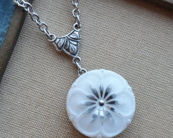 Vintage German Glass Button Necklace, White Flower with Silver Highlights
