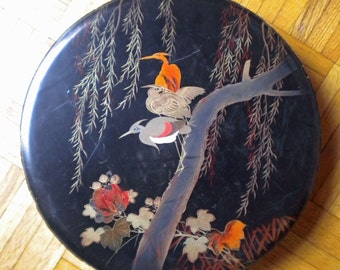 S A L E   Japan lacquer wood tray with herons or cranes on lid