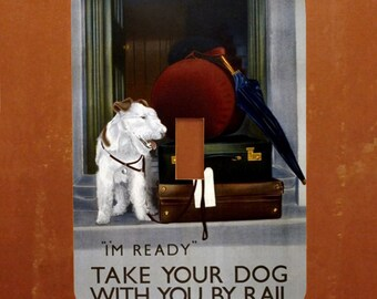 Travelin' Dog -- Vintage London Underground Advertising Light Switch Cover -- Oversized (Multiple Styles)