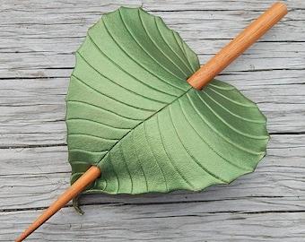 Leather Hair Accessory - Olivine Green Birch Leaf Barrette Hair Stick, Hair Slide Or Shawl Pin - Small to Medium