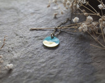 Minimalist Verdi Gris Coin charm necklace - blue green charm with gold leaf on brass - boho patina