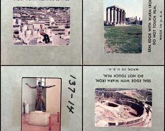 36 Vintage 35mm Slides - Athens Greece - 1970s Travel - Photo Slide Set - tourist - snapshots - ruins Acropolis theater Mycenae