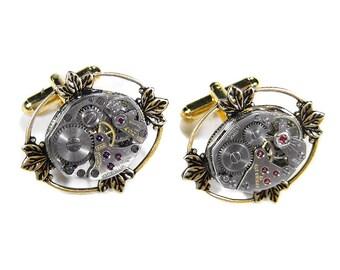 Mens Watch Cufflinks Vintage Jewel Watch Movement Mens Cuff Links Lotus Leaf Wedding Anniversary Groomsmen Fathers - Steampunk by edmdesigns