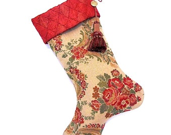Beautiful Brocade Christmas Stocking, Victorian Stocking, Large Tassel, Red and Gold