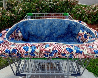 Dog Cart Cover - Shopping Cart Cover for Dogs - Quilted Denim - USA - Americana - American Flag -  US Flag - w/ tote