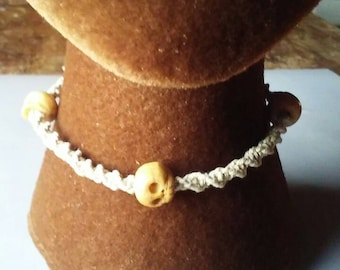 Hemp Macrame Necklace with 3 Hand Carved Bone Skull Beads, Twist Half Hitch Knot Stitch, Adjustable Tie On Jewelry, Gypsy Hippie Necklace