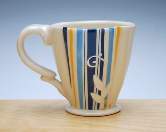 Super Stripes Deluxe clover cup in Ivory w. Blue & Tangerine Pinstripes and Polka dots, Victorian mod