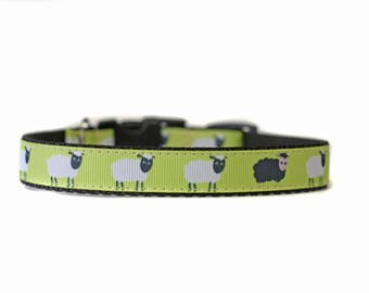 5/8 or 3/4 Inch Wide Dog Collar with Adjustable Buckle or Martingale in Black Sheep an Exclusive Design