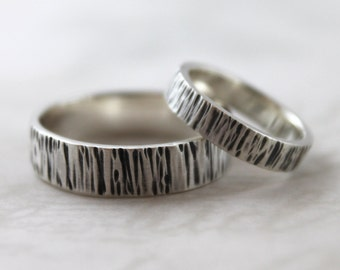 Matchinng wedding bands, Sterling silver ring set, rustic rings lines, couples rings, mens wedding ring, womens ring, Handmade wedding rings