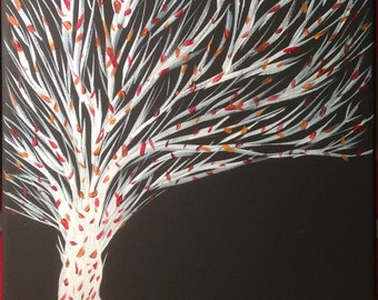 Falling Down, Hand Painted Acrylic Painting, Fall Leaves, White Tree, Black Canvas, Origianl Paining, Signed