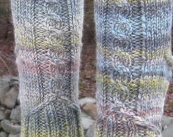 hand spun hand knit blue wool cable socks