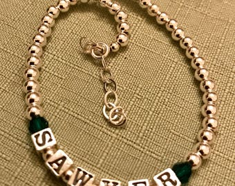 Mother Bracelet, Silver Children Baby Name Bracelet, Silver Name Bracelet, Baptism, Cross Bracelet
