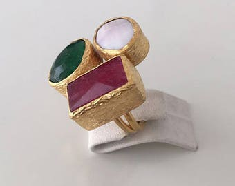 Triple Gold plated Ruby and  Emerald ring