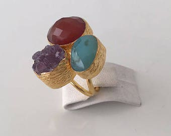 Triple Gold plated  Moss agate and  Amethyst  ring