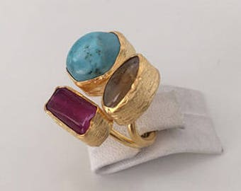 Triple Gold plated  Turquoise, Citrine  and  Ruby  ring