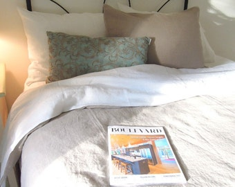 Queen Pure Washed Linen Simple Duvet Cover, Natural Bedding, Joy1