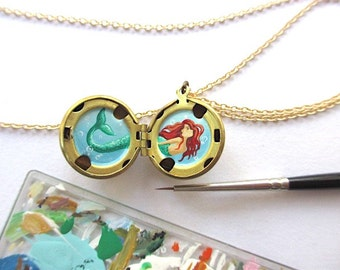 Tiny Mermaid Original Oil Painting Miniature, Brass Locket Necklace