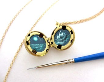 Oil-Painted Locket, Night Sailing under the Moon, Ghost Ship at Sea in Teal Greens, Miniature Art