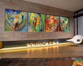 "Original canvas painting Four seasons of vine Modern Art 58"" Home & Living Decor Winter Spring Autumn Summer Huge wall canvas composition"