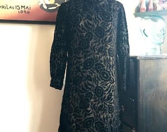 Vintage Velvet Burnout Black Dress, Classic LBD, 1960's Style Mini Dress