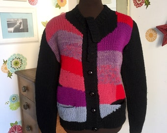 Vintage Wool Sweater, Cardigan Colorblock Bow Neck