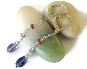 January Birthstone, Garnet Earrings, Earrings Silver Dainty, Earrings Boho Purple, Earrings Boho Dainty, Earrings Boho Red, Iolite Earrings